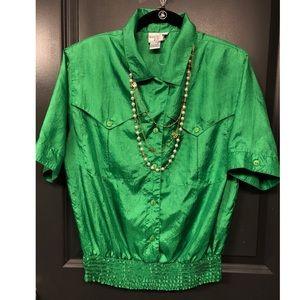 Vintage H & Smith gorgeous blouse size 10 green